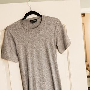 Grey T Shirt Dress with cutout back